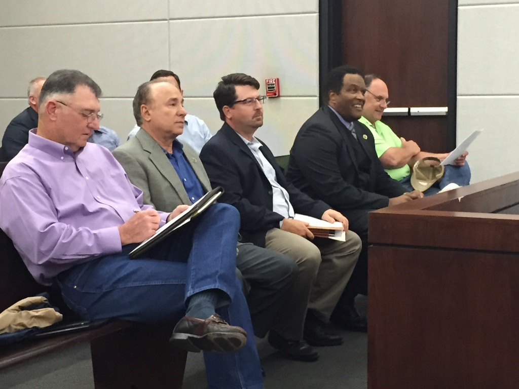 "Left to right: District 2 Councilman Bill Dawson, President Matassa, Traffic Engineer Nick Ferlito, Ascension CAO Ken Dawson, and Billy ""the Mississippi Builder"" Aguillard"
